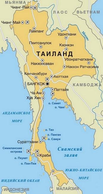 карта-Таиланда-курорты
