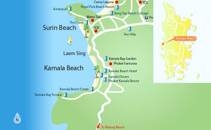 карта пляжа камала