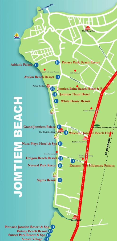 карта пляж джомтьен